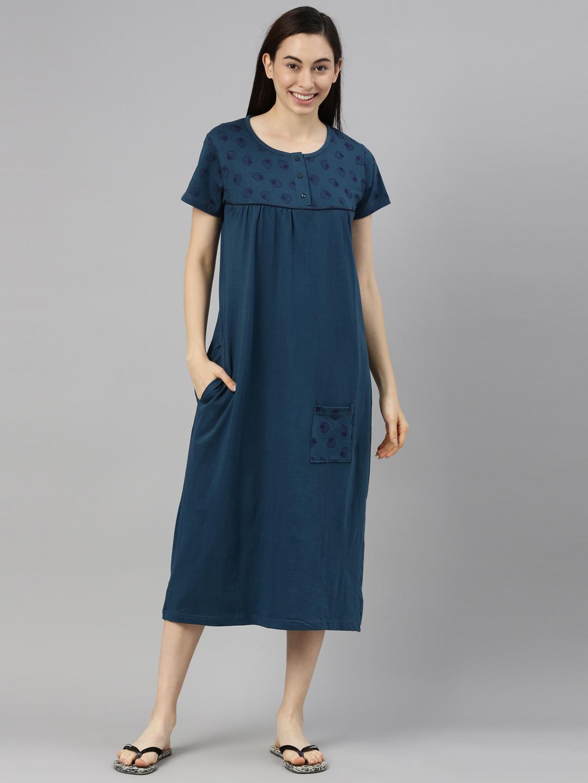 Kryptic | Kryptic womens 100% Cotton printed long night dress
