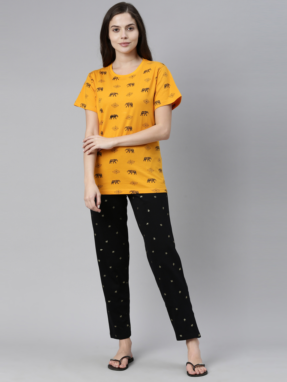 Kryptic   Kryptic Womens 100% Cotton printed nightsuit with Pyjama pant