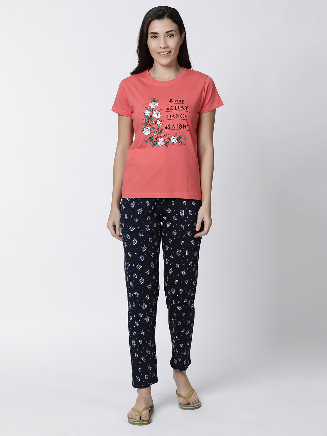 Kryptic | Kryptic womens nightsuit with all over printed bottom and placement printed top