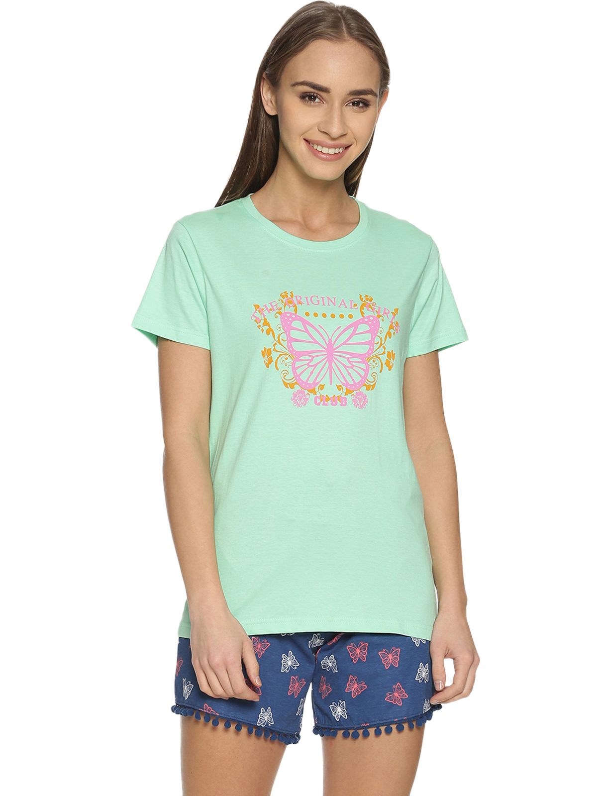 Kryptic | Kryptic Womens 100% cotton printed nightsuit with all over printed shorts and graphic printed Tshirt