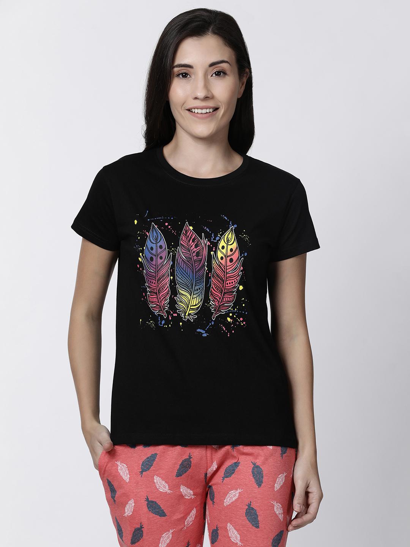 Kryptic | Kryptic womens feather printed tshirt