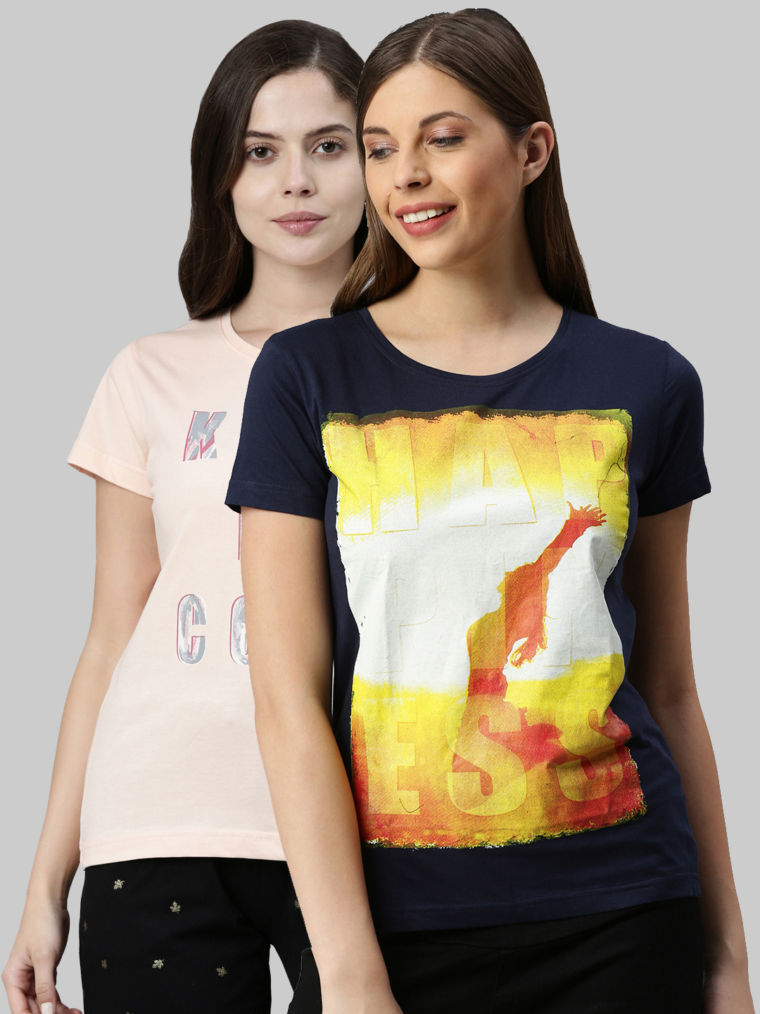Kryptic | Kryptic womens 100% Cotton  typography  printed t shirt Pack of -2