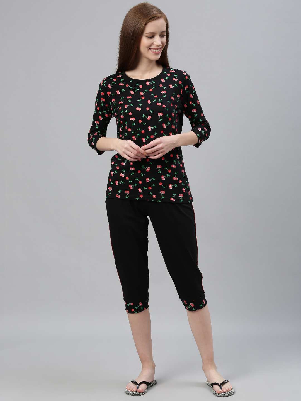 Kryptic | Kryptic womens 100% Cotton printed capri set