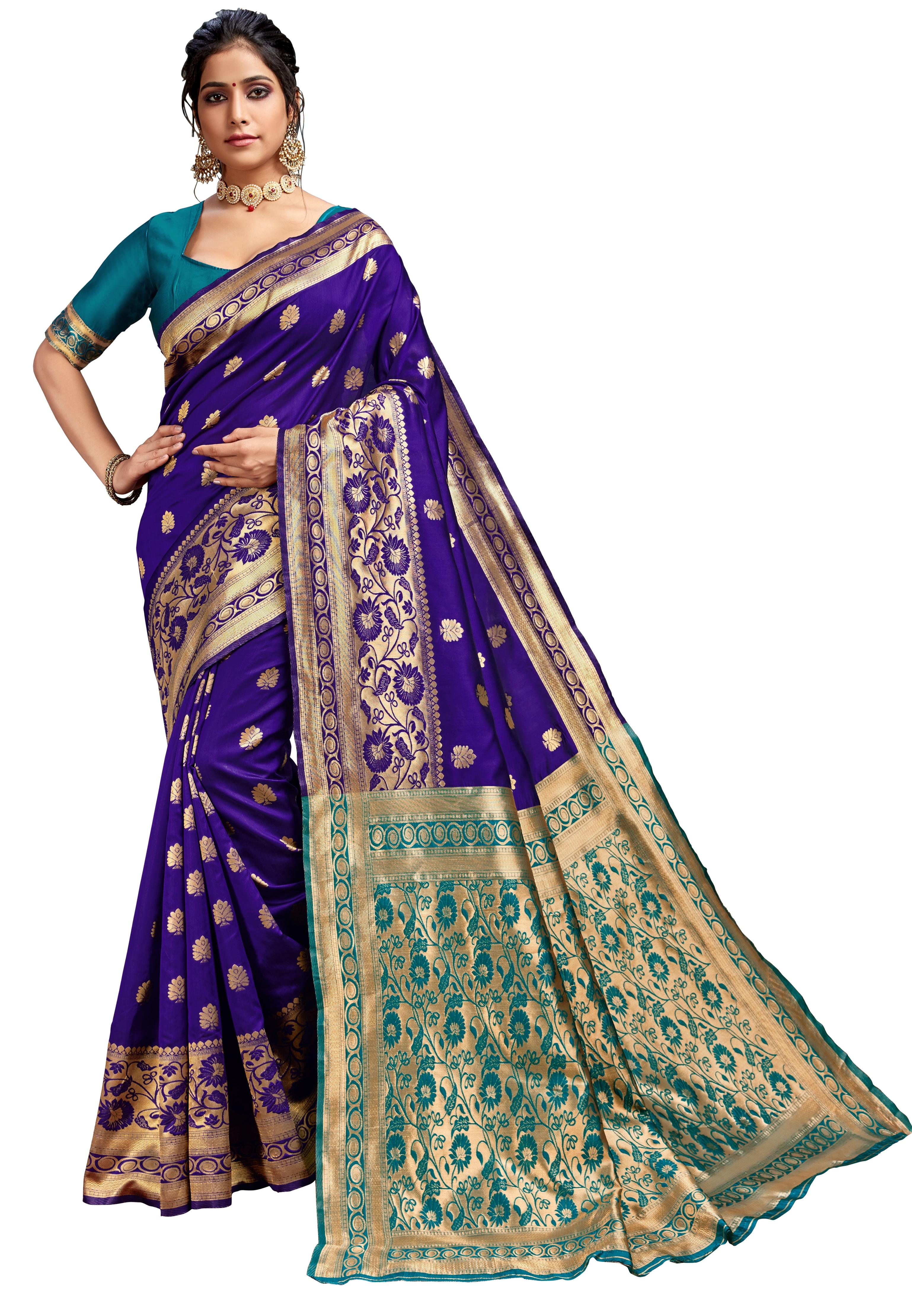 Glemora Blue & Rama Lichi Cotton Kalpana Saree With Unstitched Blouse