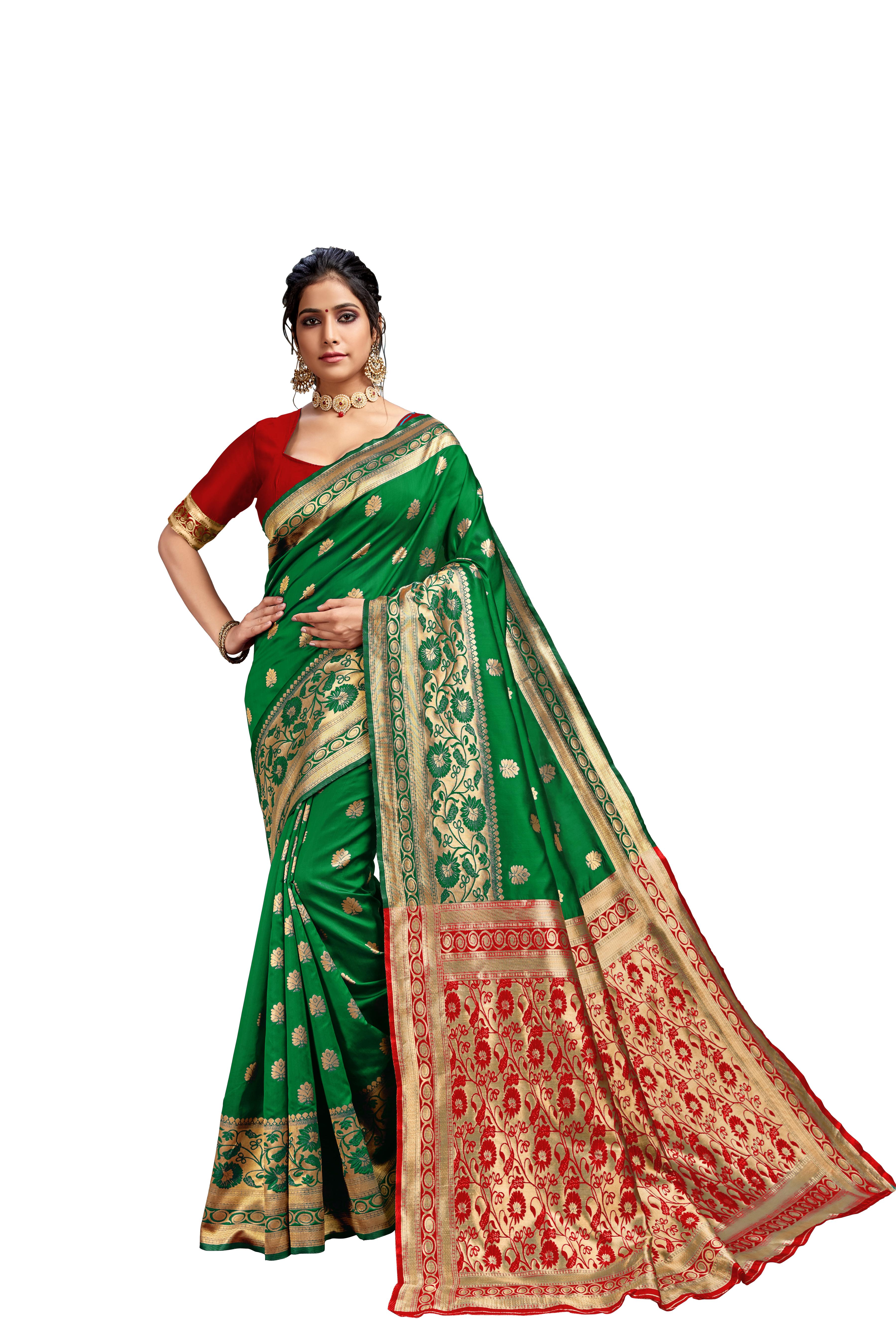 Glemora Green & Red Lichi Cotton Kalpana Saree With Unstitched Blouse