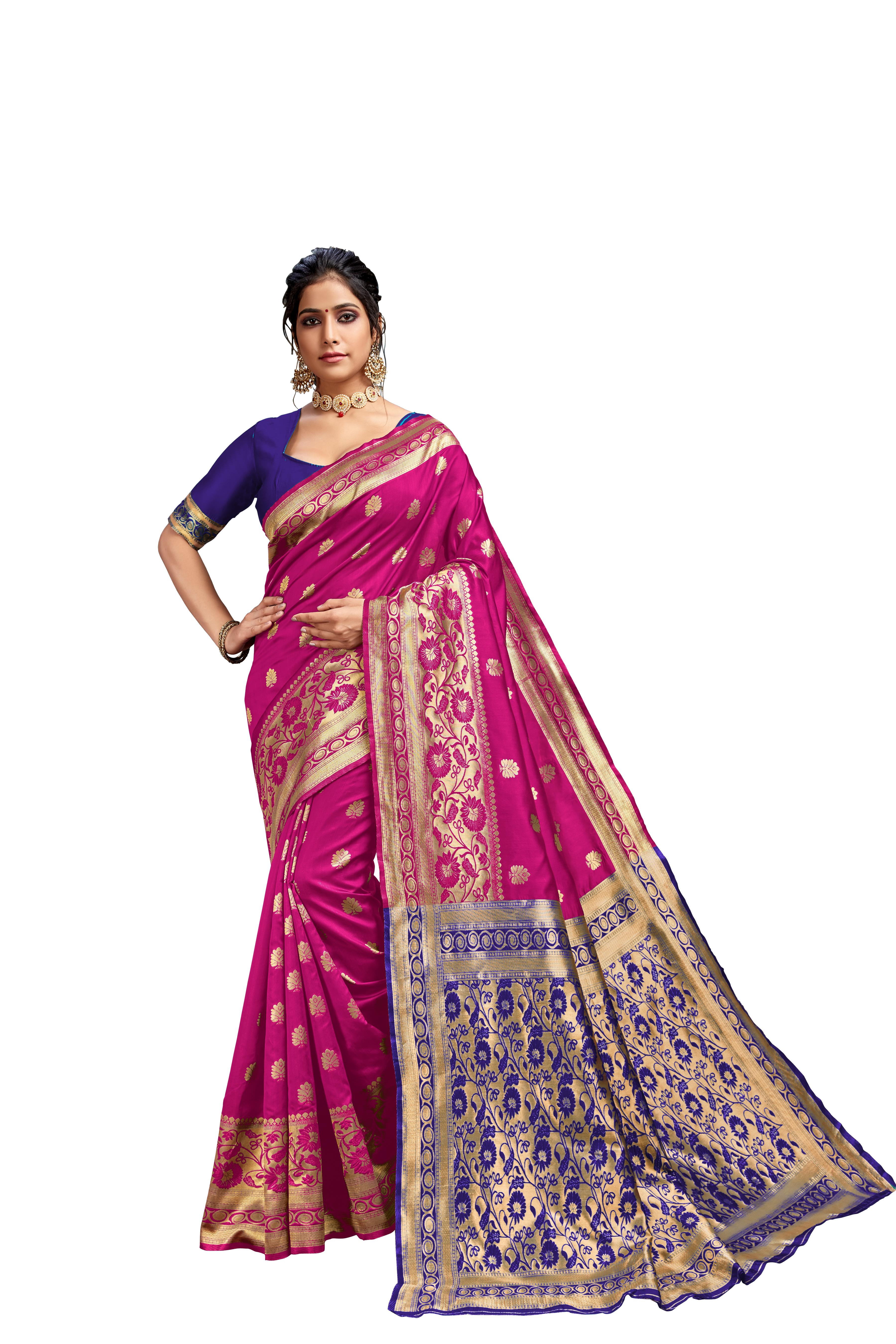 Glemora Pink & Blue Lichi Cotton Kalpana Saree With Unstitched Blouse