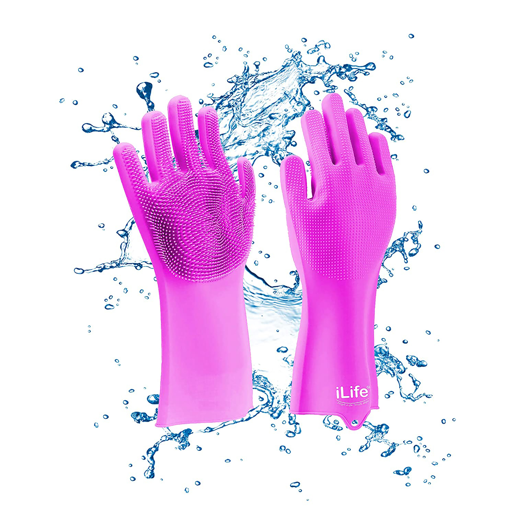 iLife | iLife Scrub Glove 240 grams Thick Multi-use Latex free Silicon scrubber gloves for Dishwashing Pet grooming car cleaning and heat resistance kitchen gloves 1 Pair pink