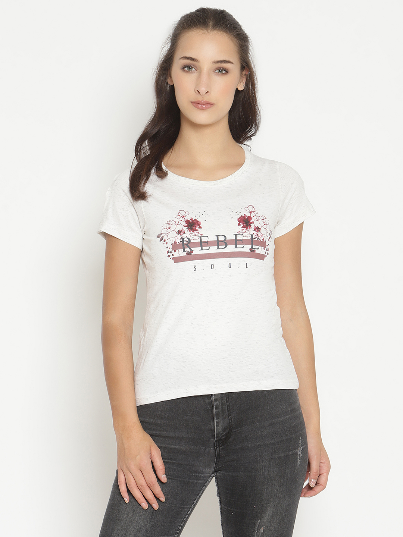 METTLE | Women WHITE MELANGE T-Shirts