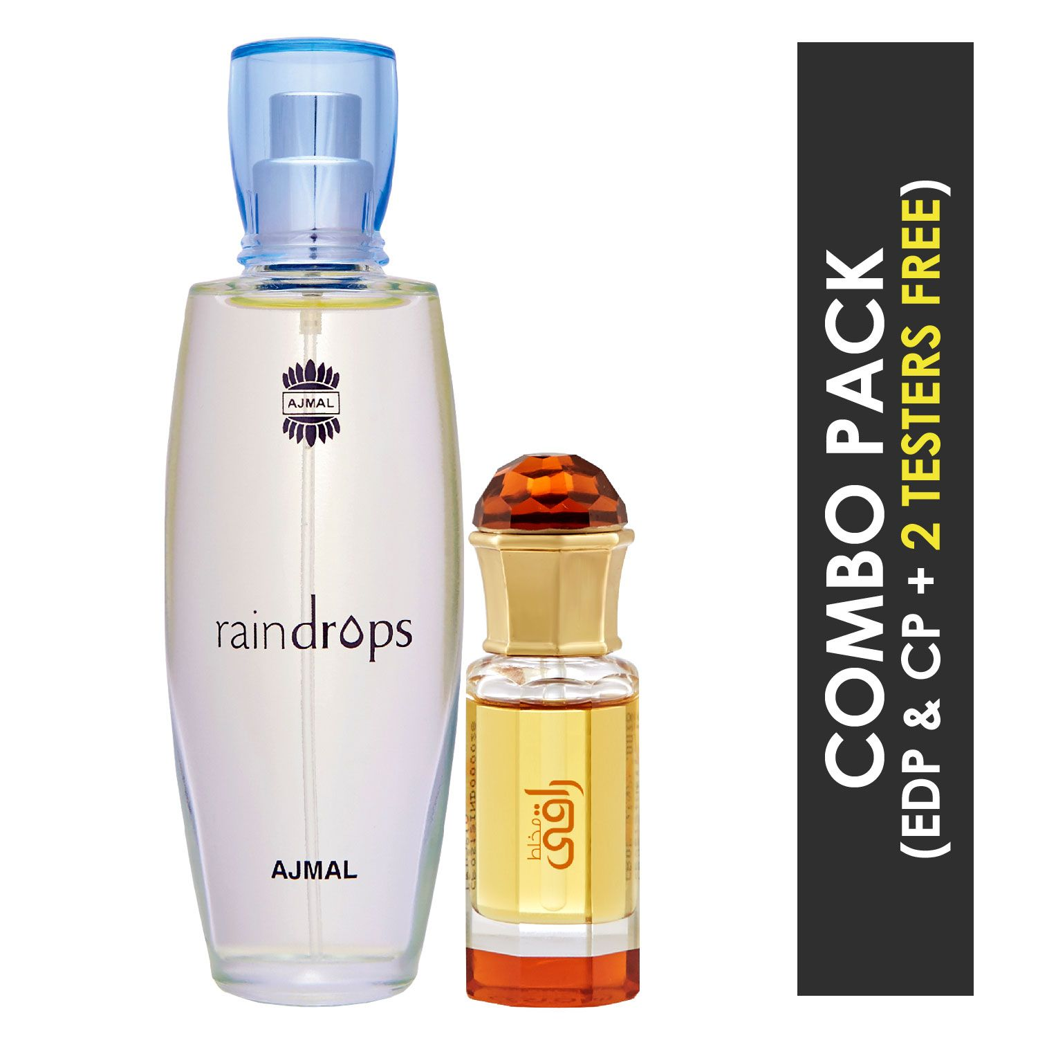 Ajmal | Ajmal Raindrops EDP Floral Chypre Perfume 50ml for Women and Mukhallat Raaqi Concentrated Perfume Oil Floral Fruity Alcohol-free Attar 10ml for Unisex + 2 Parfum Testers FREE
