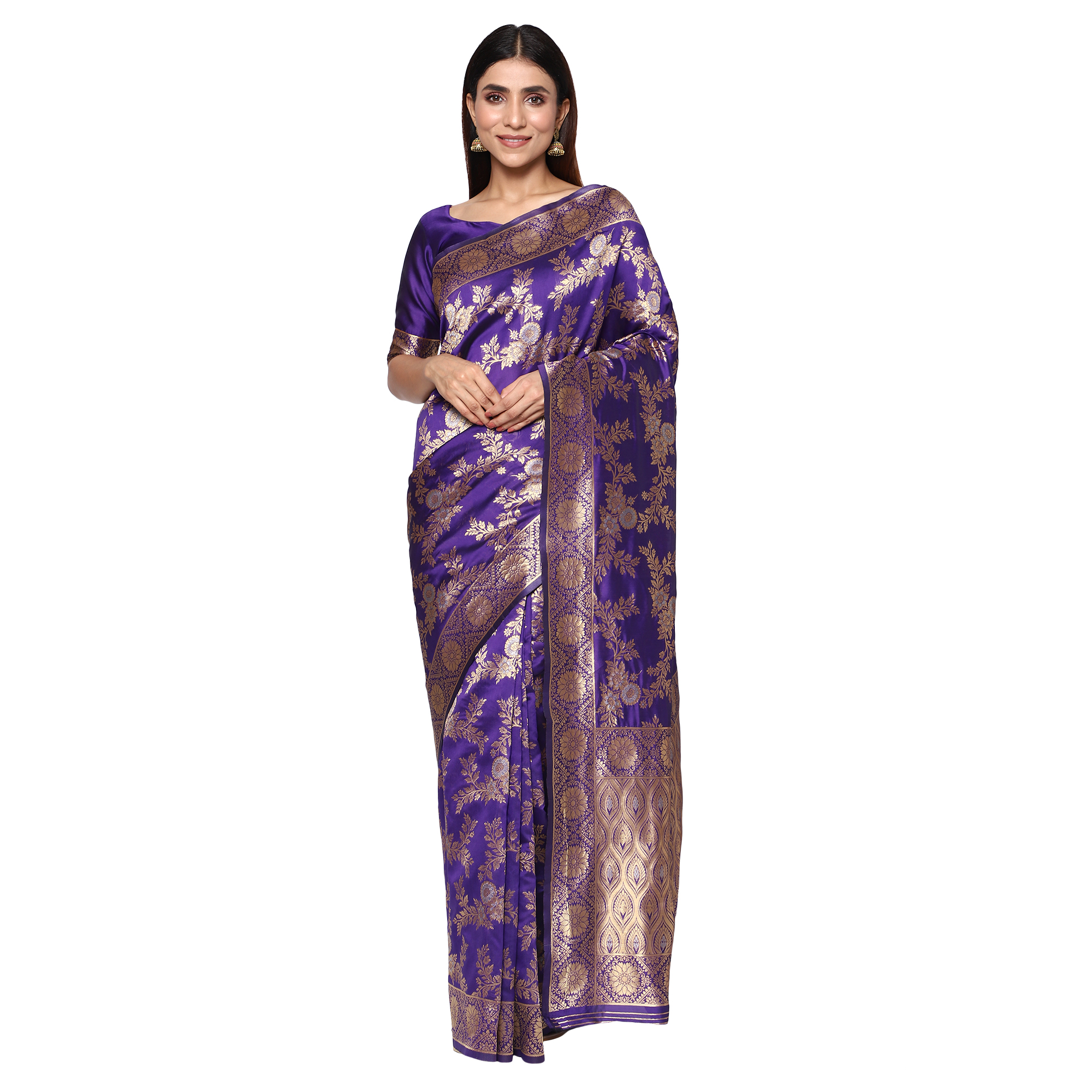 Glemora | Glemora Purple Fancy Ethnic Wear Silk Blend Banarasi Traditional Saree
