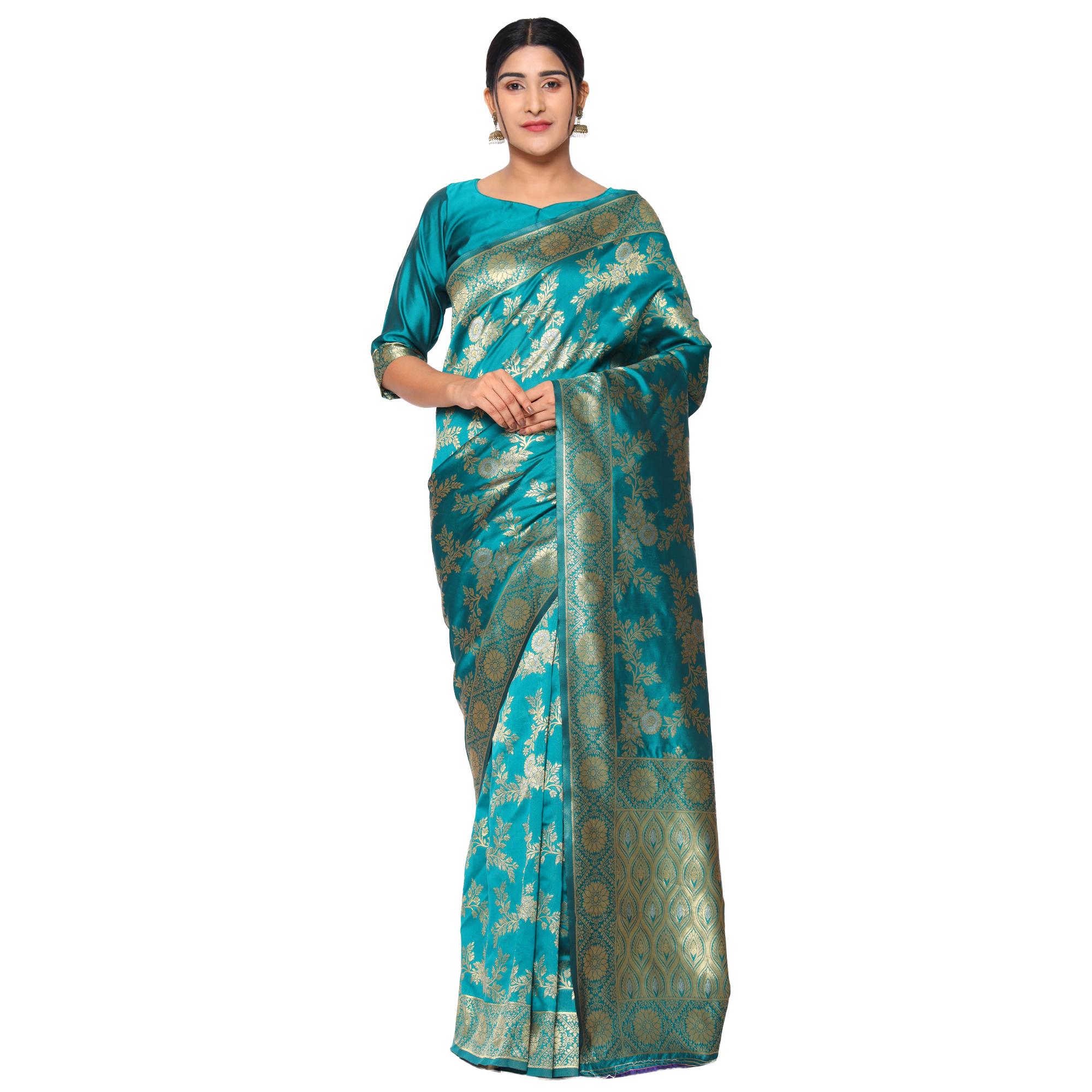 Glemora | Glemora Rama Fancy Ethnic Wear Silk Blend Banarasi Traditional Saree