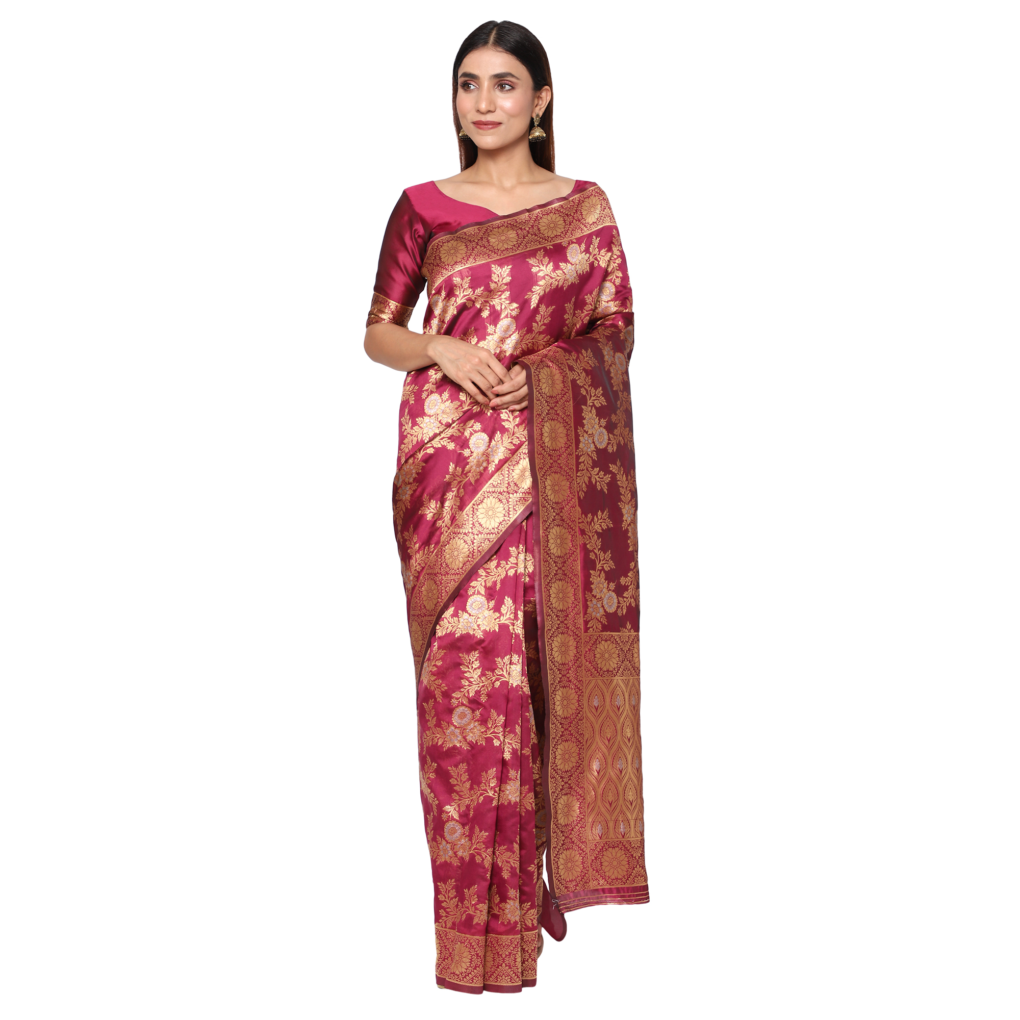 Glemora | Glemora Wine Fancy Ethnic Wear Silk Blend Banarasi Traditional Saree