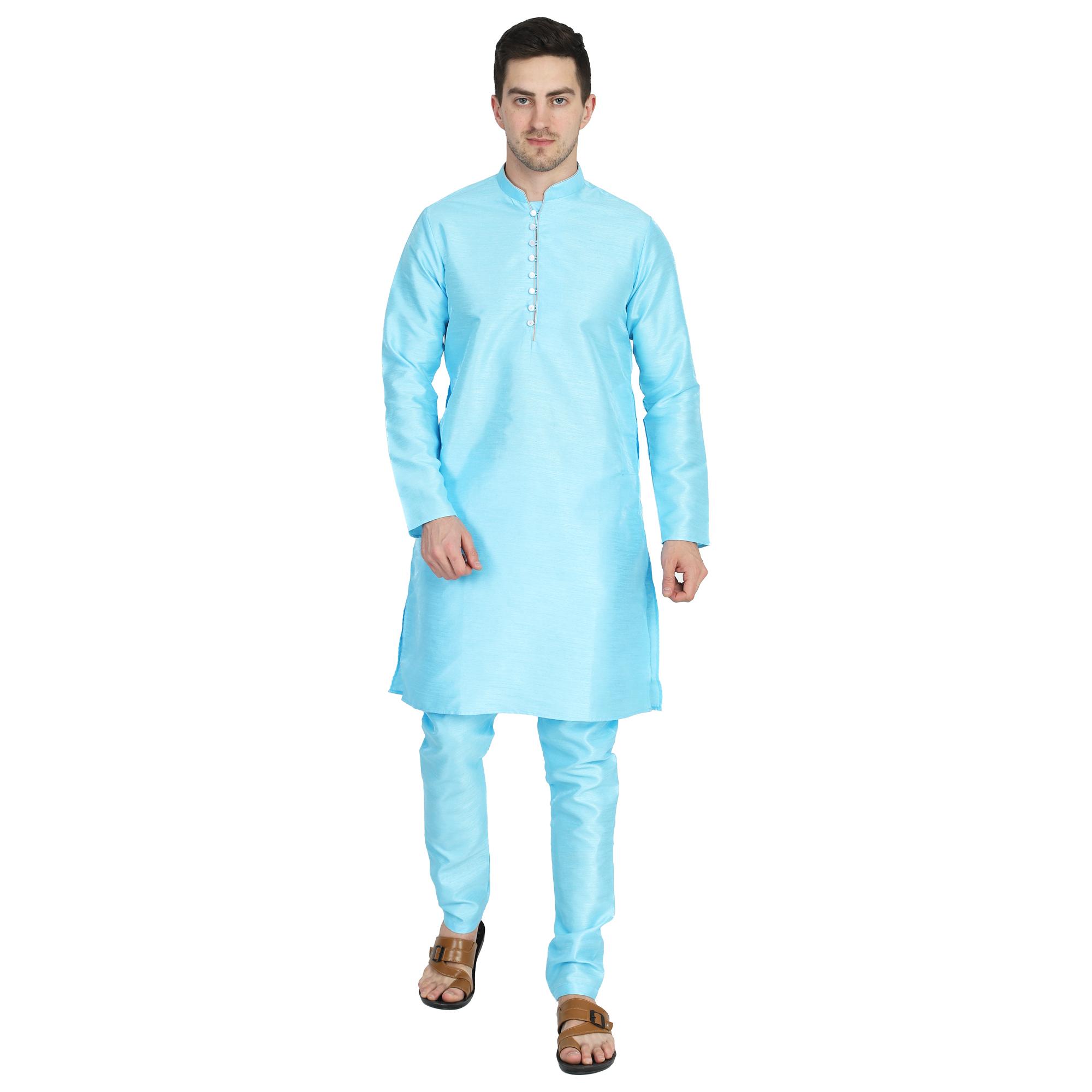 TAHVO   Tahvo Men Solid Blue Kurta with Churidar