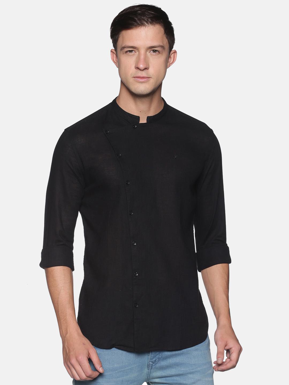 Showoff   SHOWOFF Men's  Lenin Casual Black Solid Slim Fit Shirt
