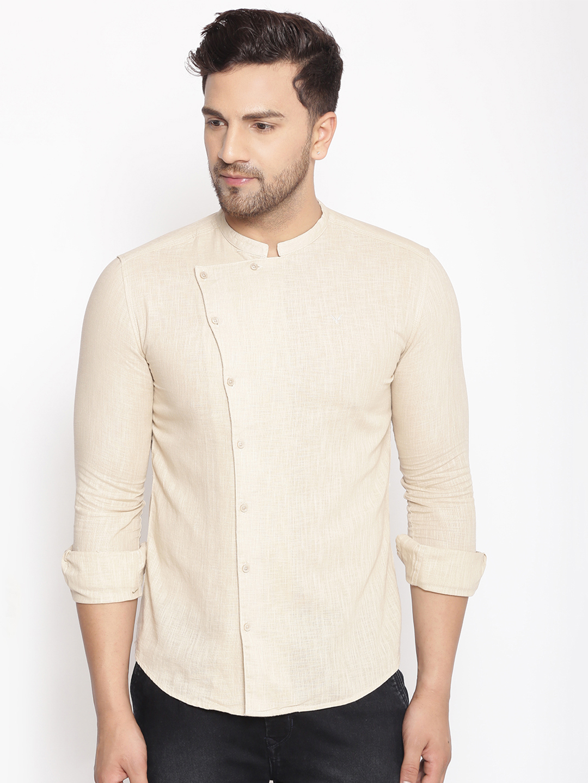 Showoff | SHOWOFF Men's  Lenin  Beige Solid Slim Fit Shirt