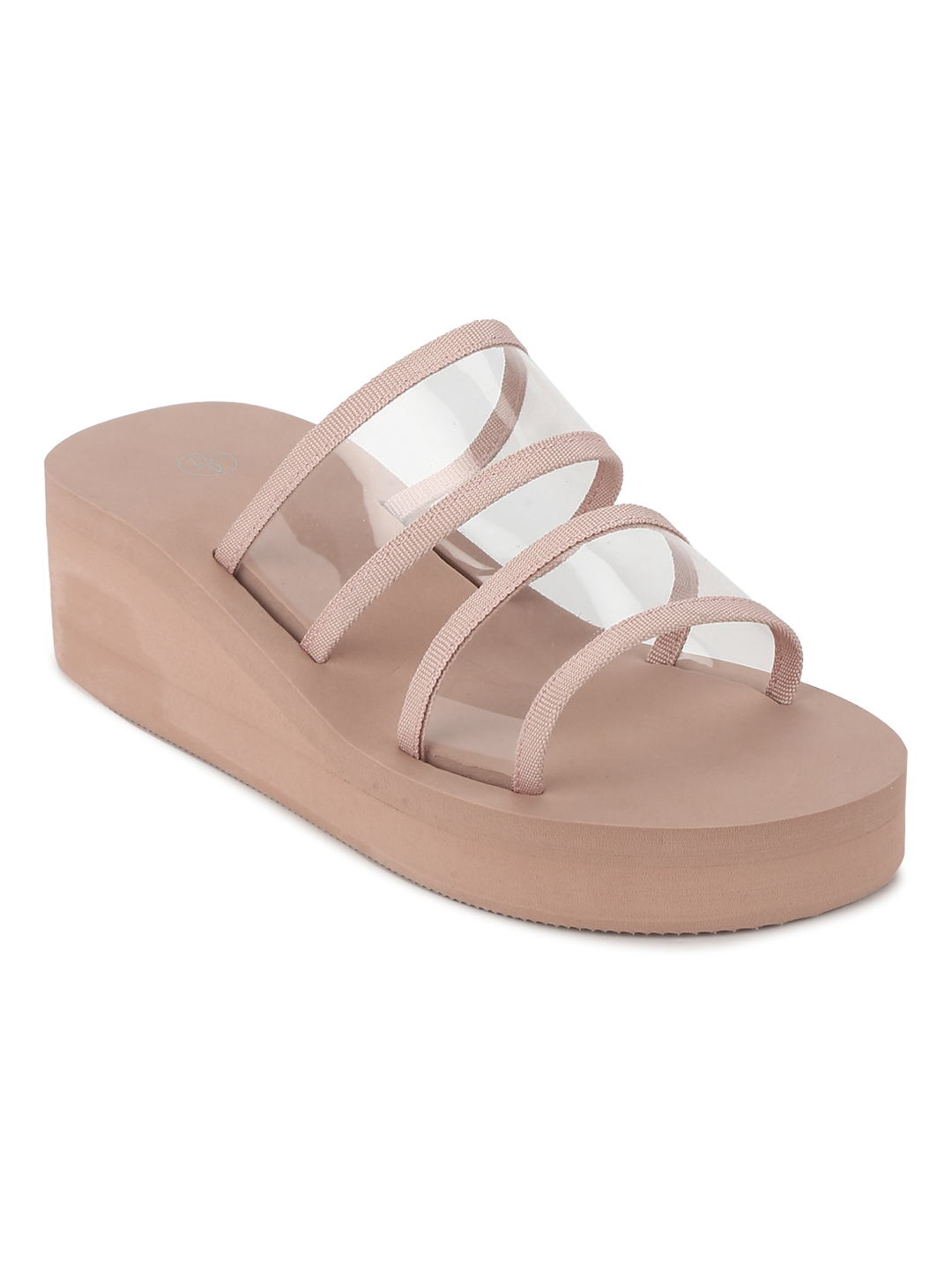 Truffle Collection | Nude PVC Mid Heel Slip On Wedges