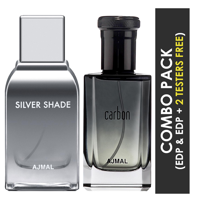 Ajmal | Ajmal Silver Shade EDP Citrus Woody Perfume 100ml for Men and Carbon EDP Citrus Spicy Perfume 100ml for Men + 2 Parfum Testers FREE