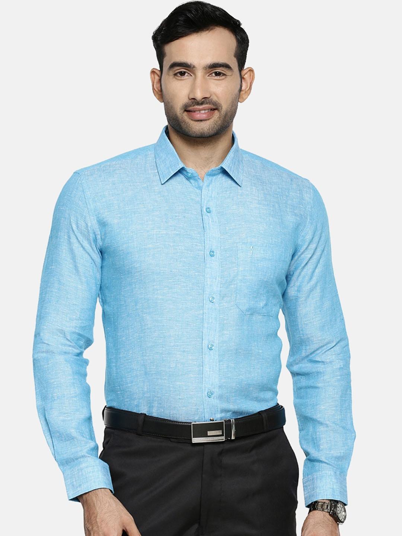 Ramraj Cotton   Ramraj Cotton Men Blue Original Slim Fit Solid Linen Formal Shirt