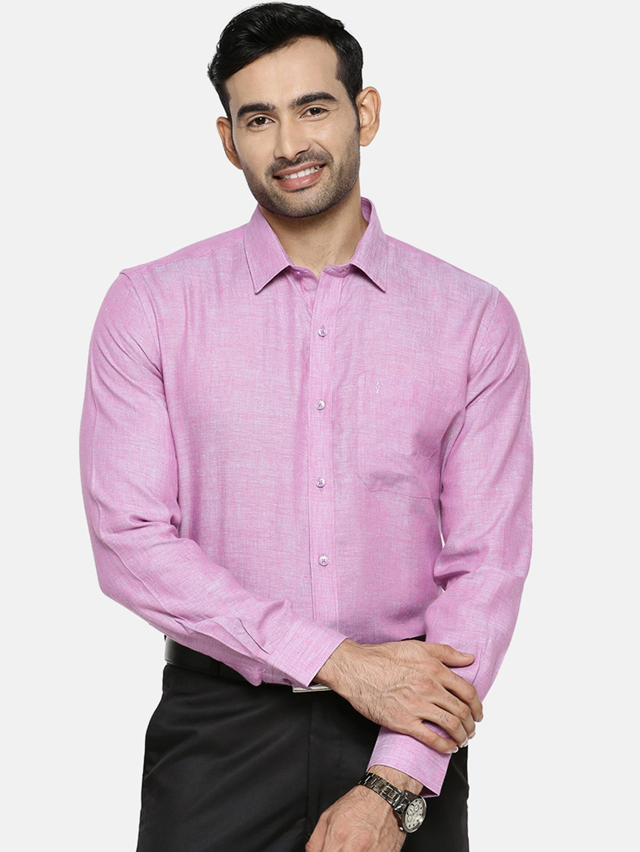 Ramraj Cotton   Ramraj Cotton Men Purple Original Slim Fit Solid Linen Formal Shirt