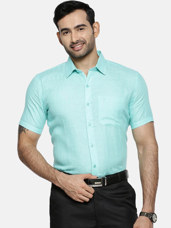 Ramraj Cotton   Ramraj Cotton Men Green Original Slim Fit Solid Formal Shirt
