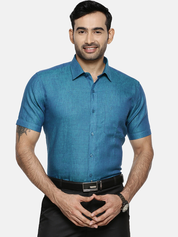 Ramraj Cotton   Ramraj Cotton Men Blue Original Slim Fit Solid Formal Shirt