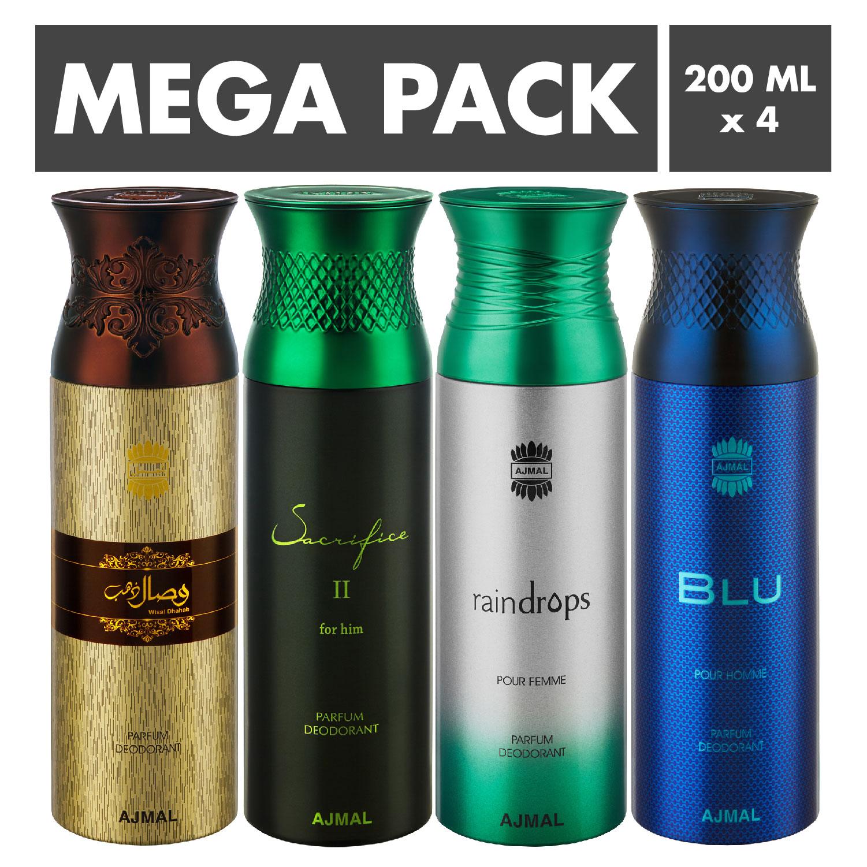 Ajmal | Ajmal Wisal Dhahab & SacrificeIIHim & Raindrops & Blu Deodorant Spray- For Men (200 ml, Pack of 4)