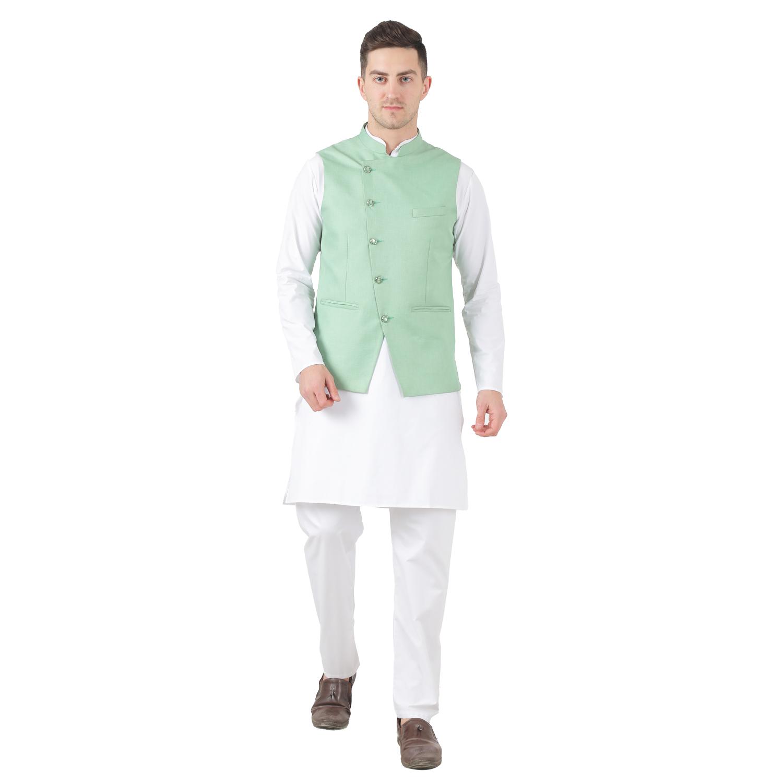 TAHVO   Tahvo Mens Nehru Jacket with Hanky Kurta Payjama 3 Piece Set