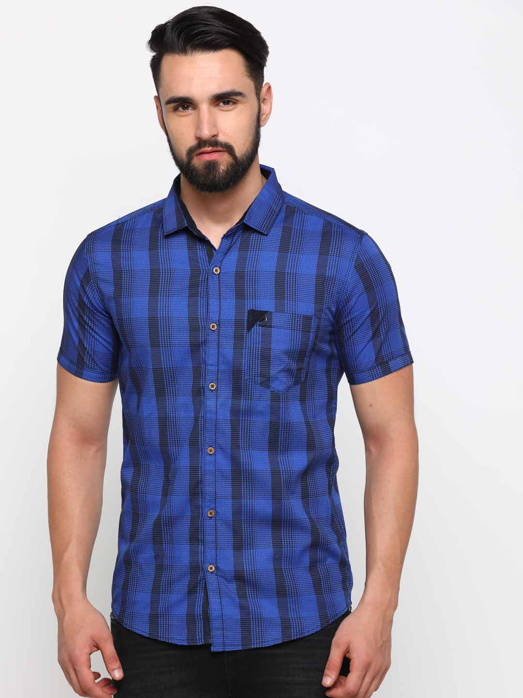 With | WITH Men's Blue Cotton Checks SlimFit Shirt