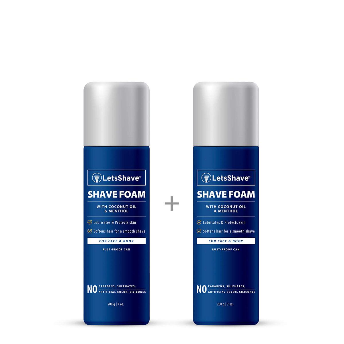 LetsShave   LetsShave Shave Foam - Coconut Oil Enriched - Rust Proof Aluminium Bottle - Paraben and Sulphate Free - 200 g (1 + 1 FREE)