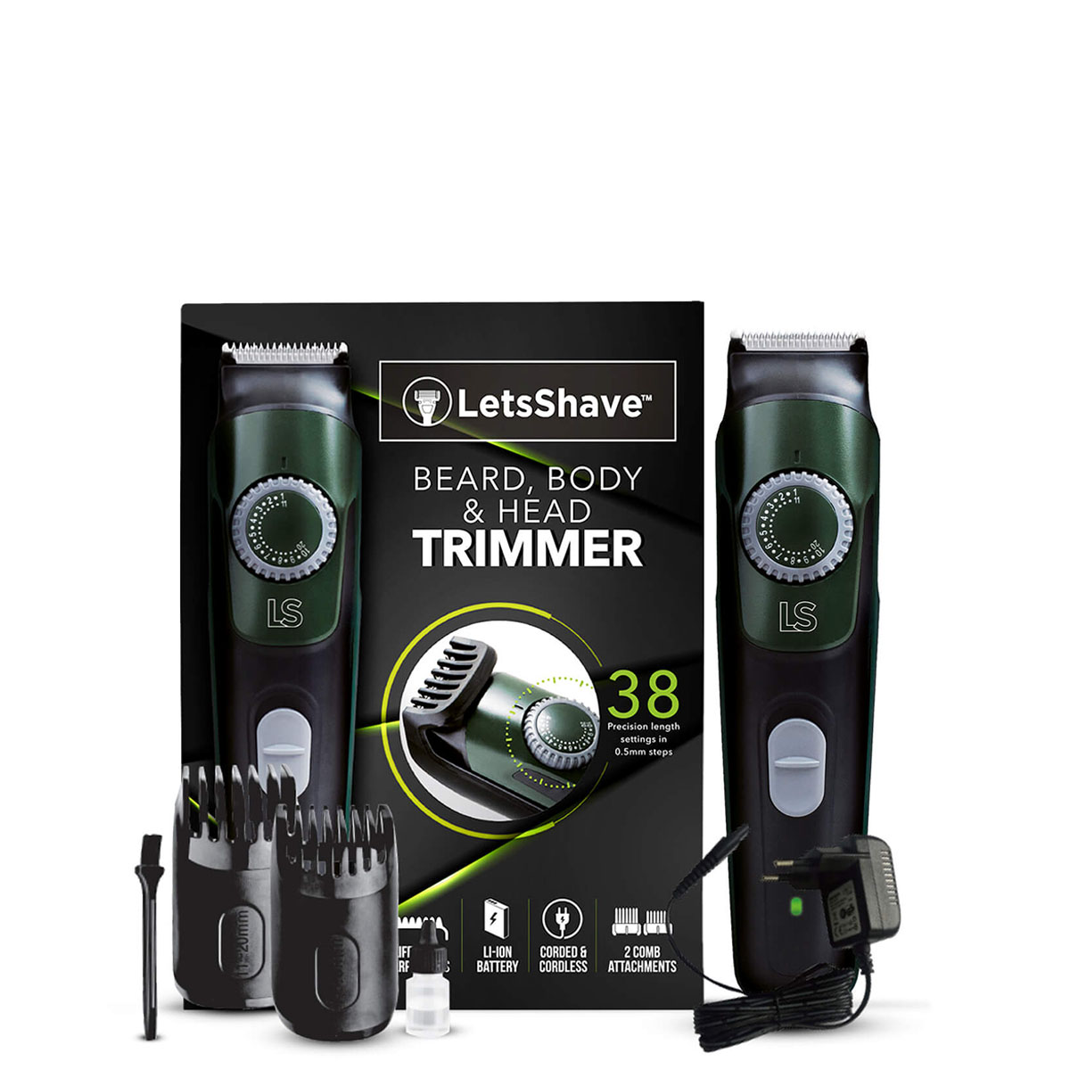 LetsShave | LetsShave Beard, Body & Head Trimmer - Fast Charge, 38 Precision Length Setting, Cord & Cordless Usage