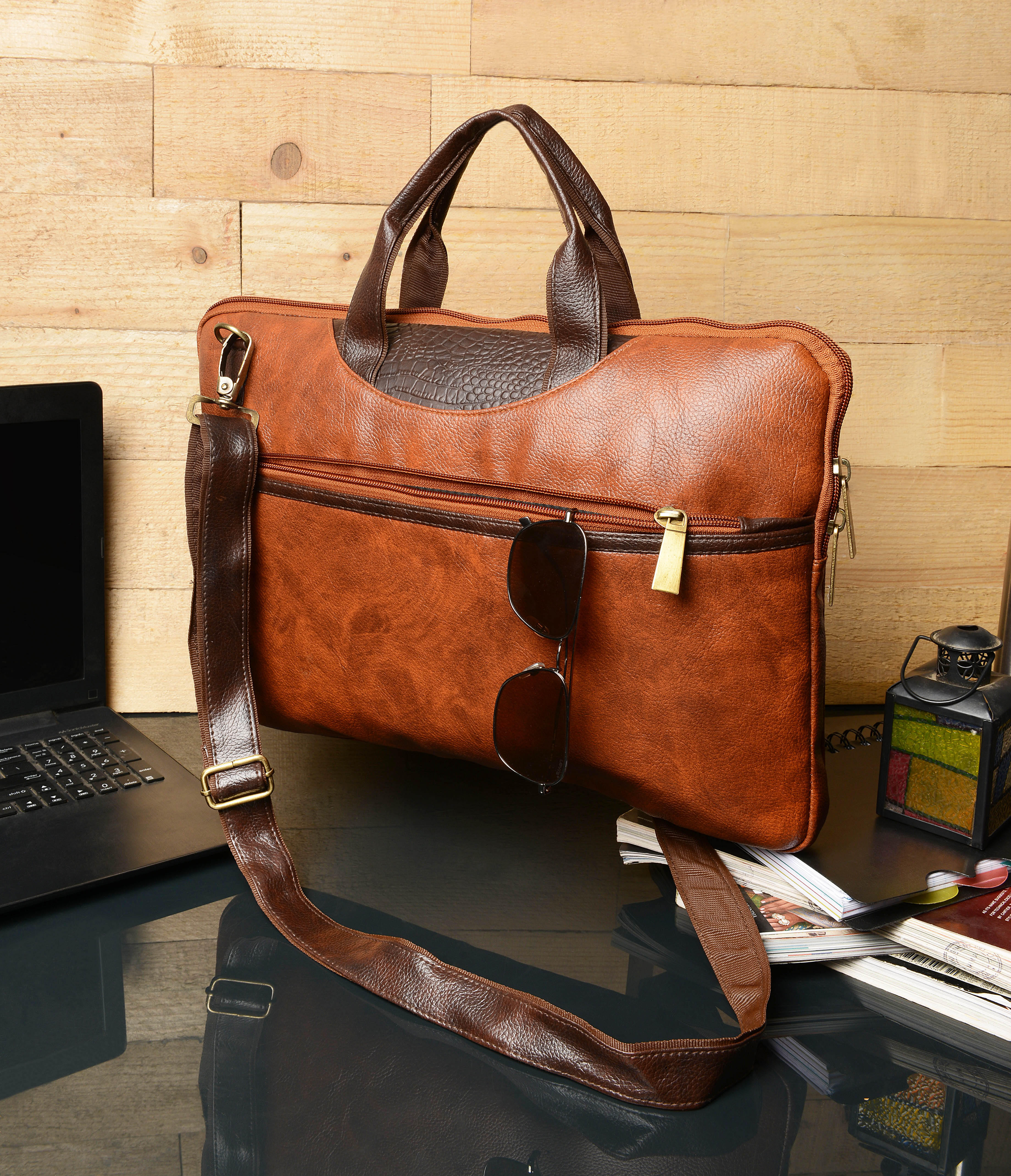 Vivinkaa | Vivinkaa Faux Leather 15.6 inch Contrast Tan Padded Laptop Messenger bag for Men & Women
