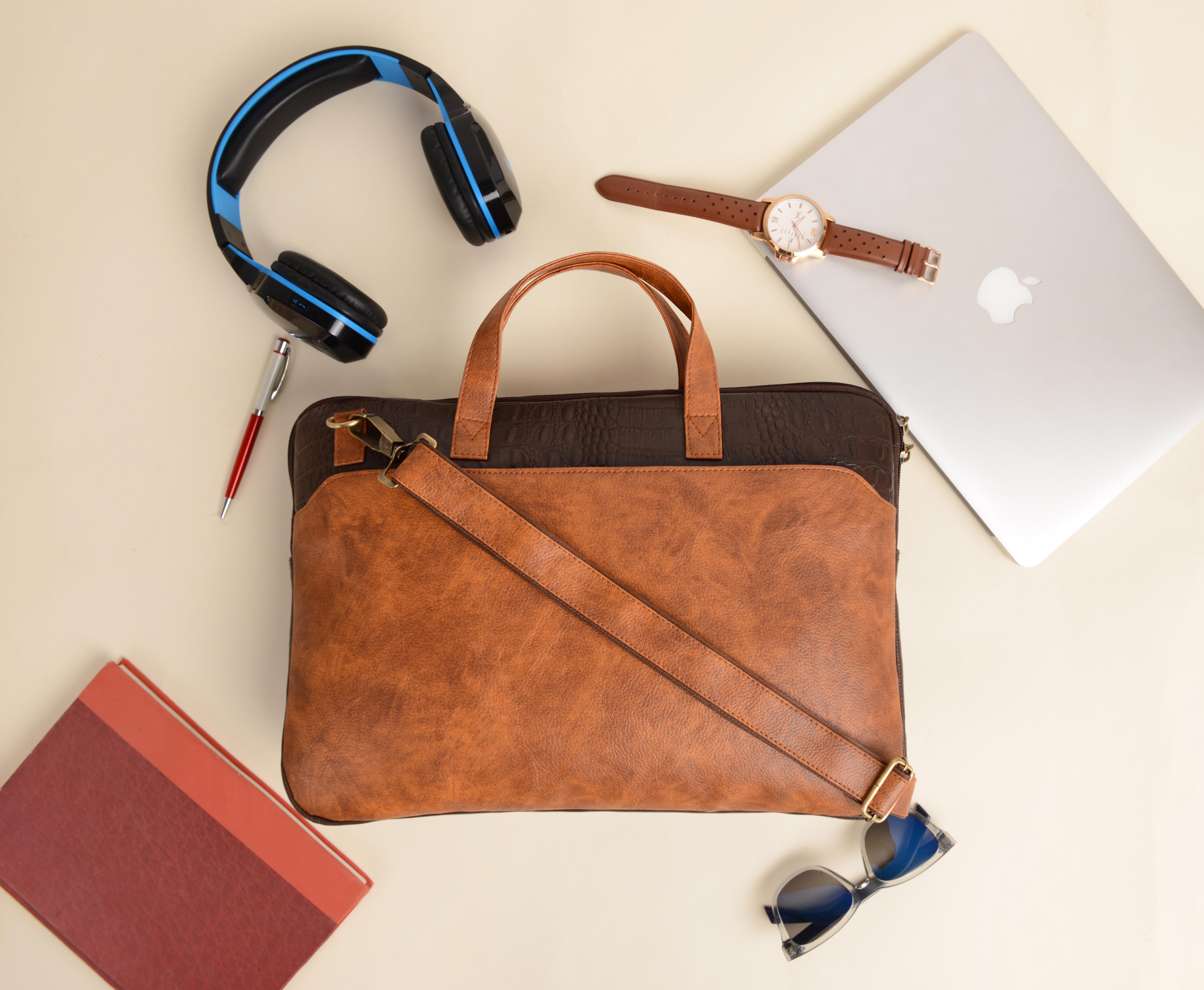 Vivinkaa | Vivinkaa Faux Leather 15.6 inch Tan/Brown Padded Laptop Messenger bag for Men & Women