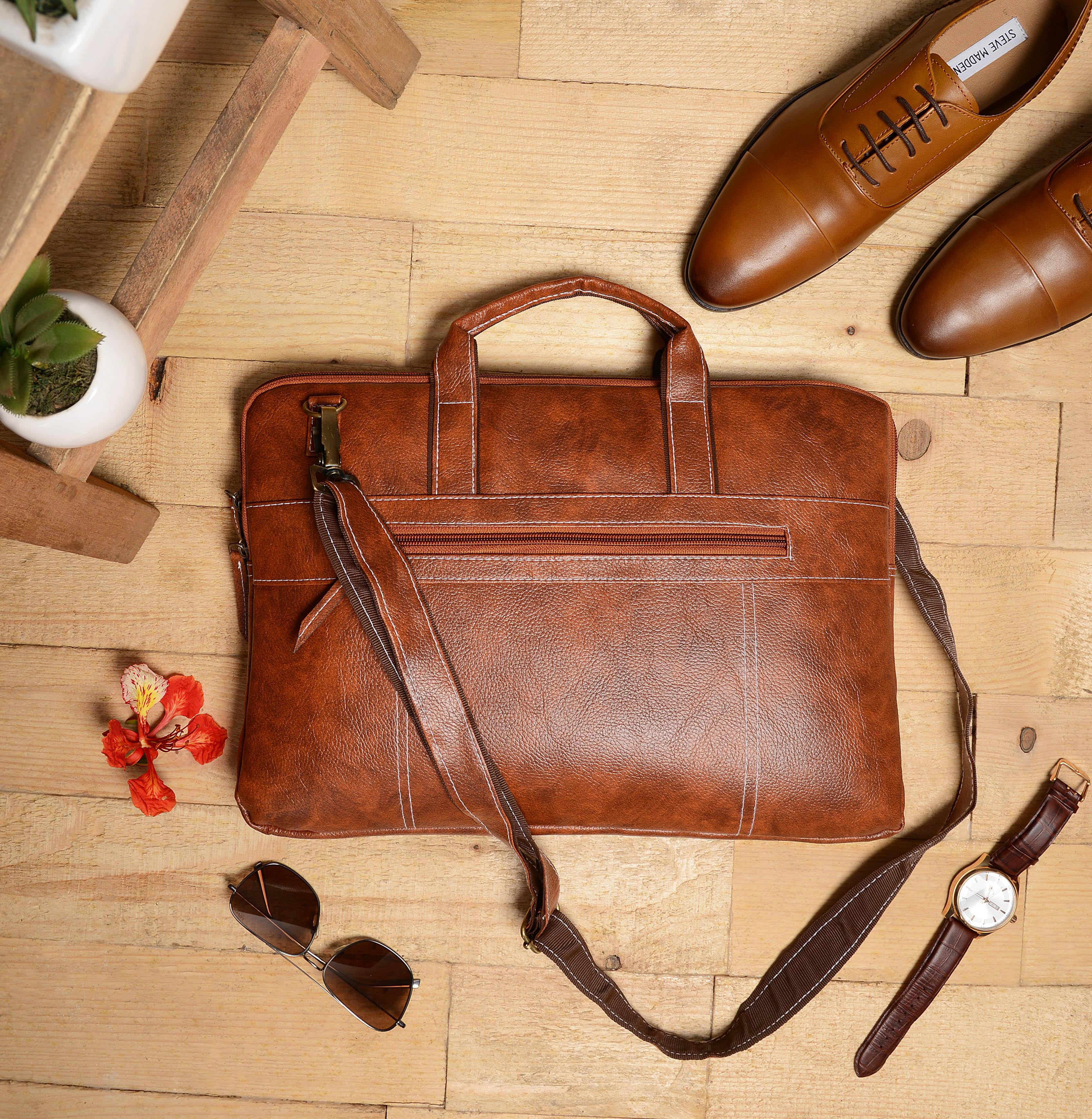 Vivinkaa | Vivinkaa Faux Leather 15.6 inch Full Tan Padded Laptop Messenger bag for Men & Women