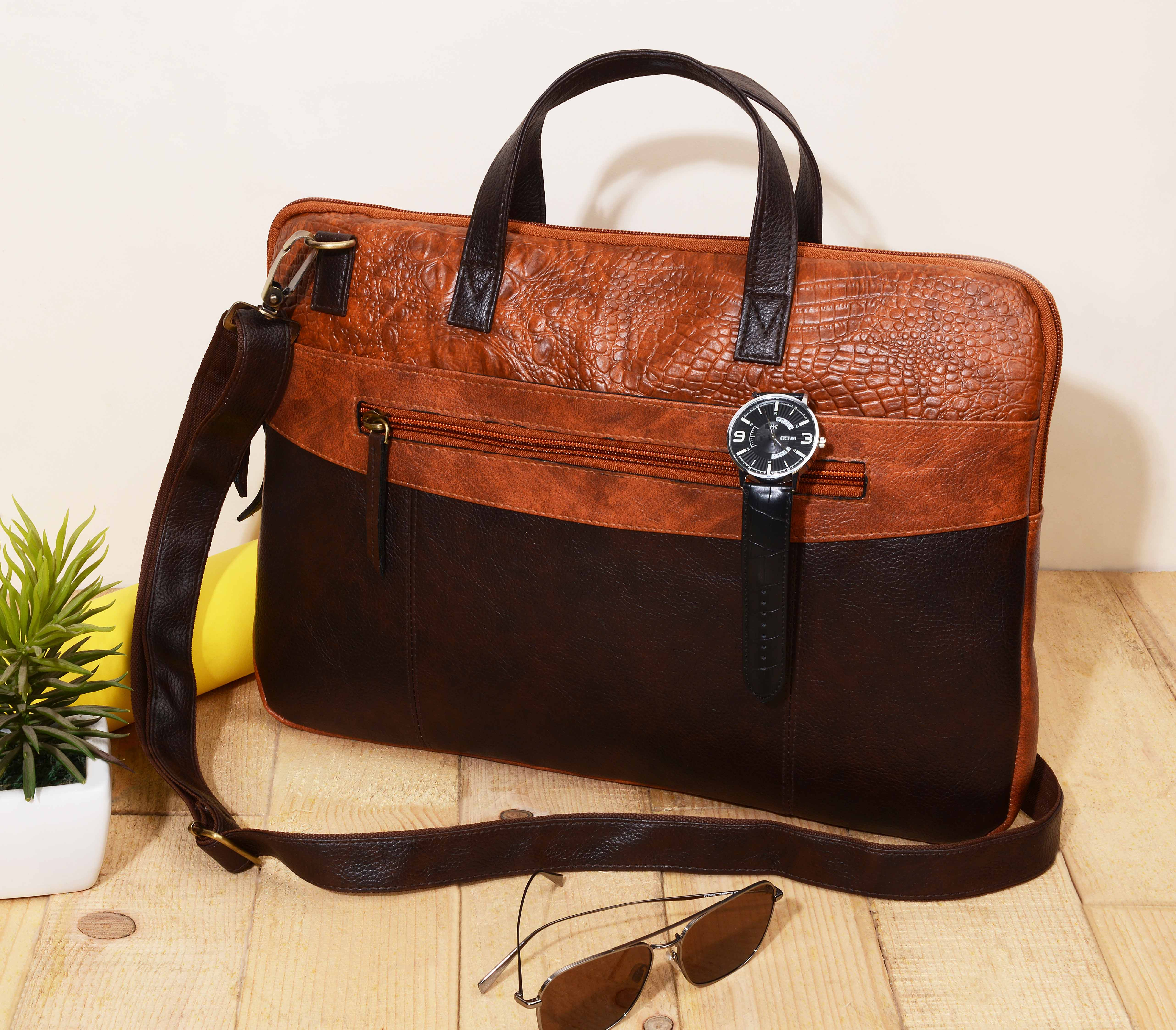 Vivinkaa | Vivinkaa Faux Leather 15.6 inch Mid Tan/Coffee Padded Laptop Messenger bag for Men & Women