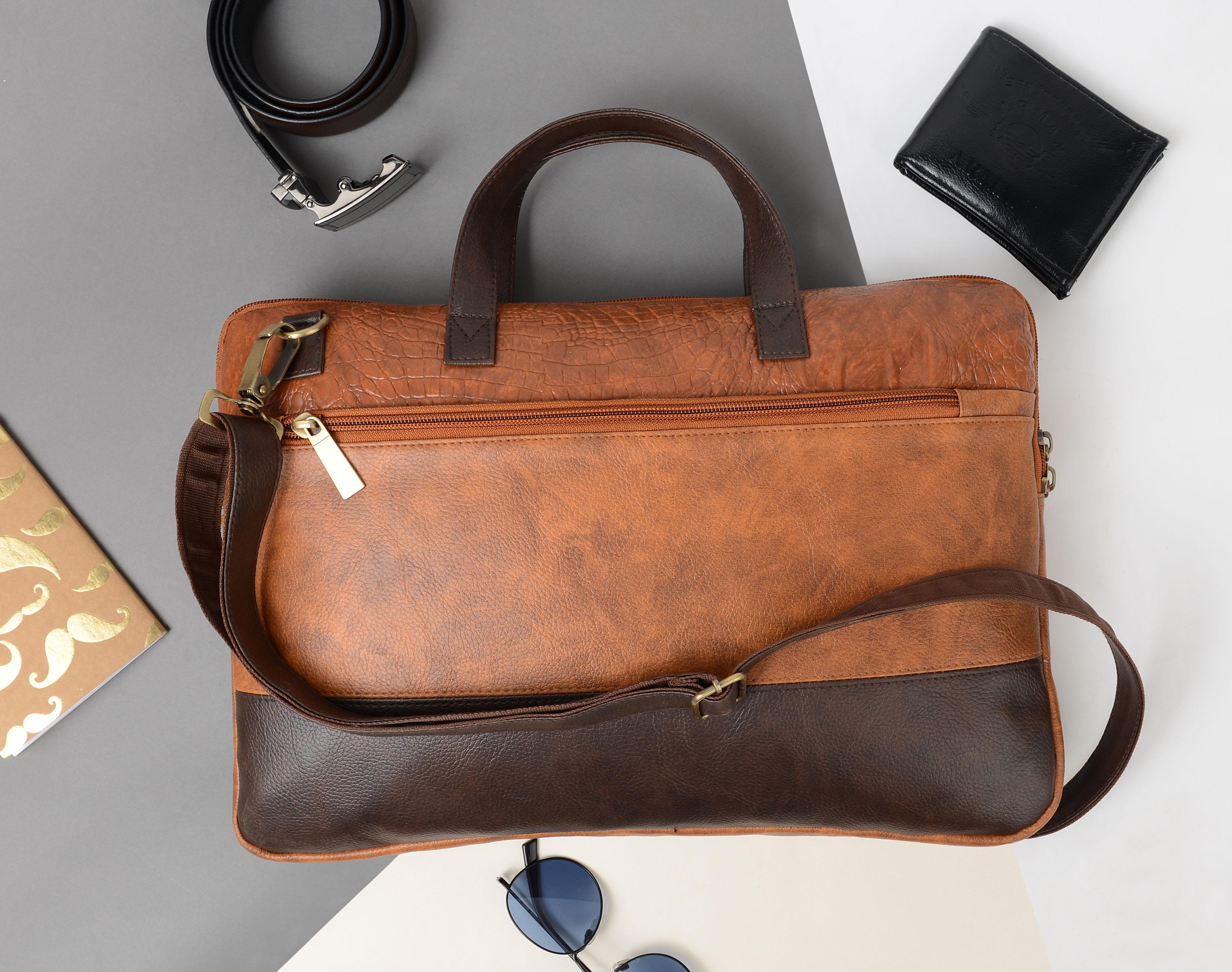 Vivinkaa | Vivinkaa Faux Leather 15.6 inch Tan/Coffee Padded Laptop Messenger bag for Men & Women