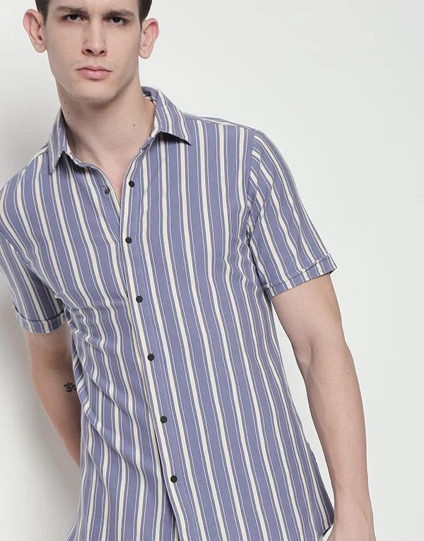 Hemsters | Hemsters Blue and White Shirt For Men