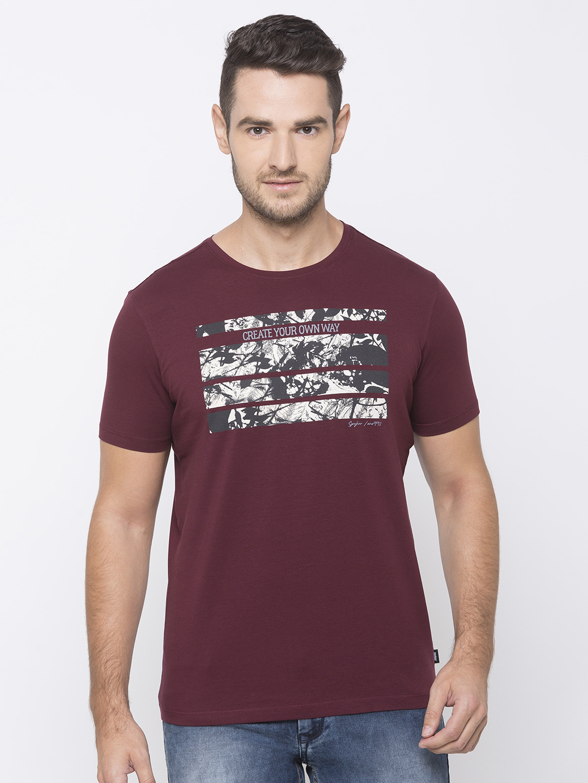 Spykar | spykar Red Cotton Activewear T-Shirts