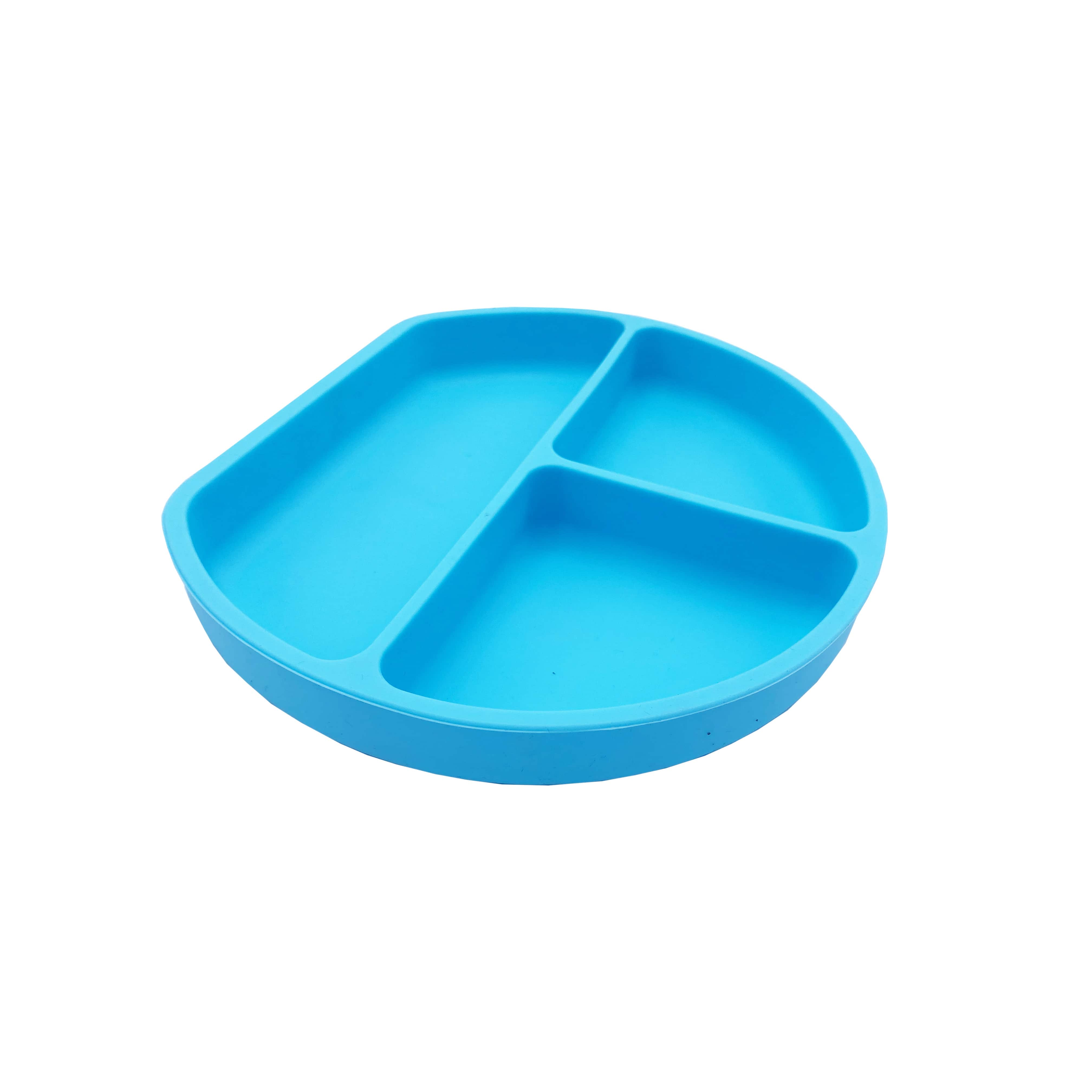 Amour | Amour Silicone Grip Self Feeding Dish, Suction Plate, Baby Toddler Plate (Blue)