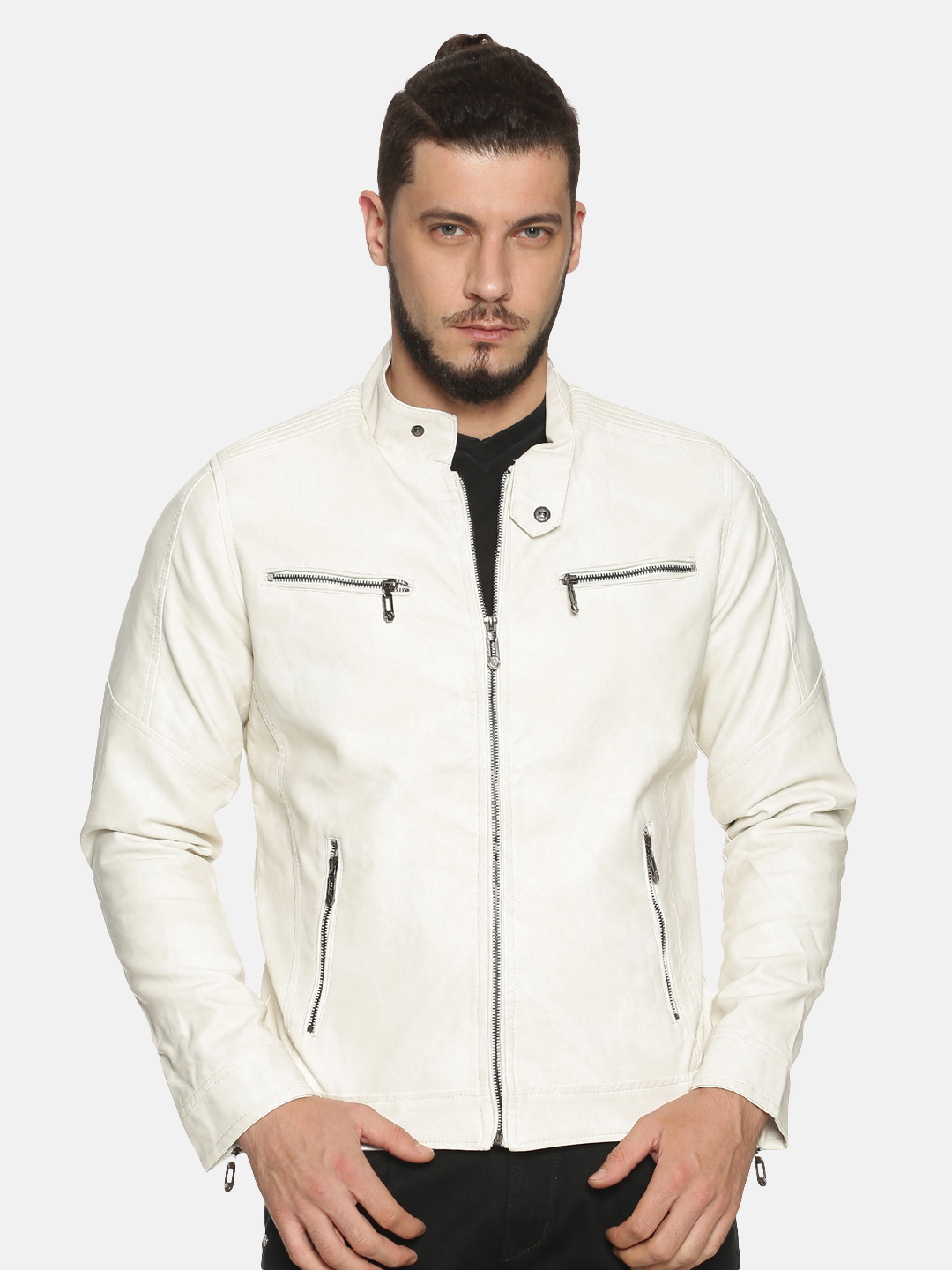 Showoff | Men white Casual Solid Leather jacket