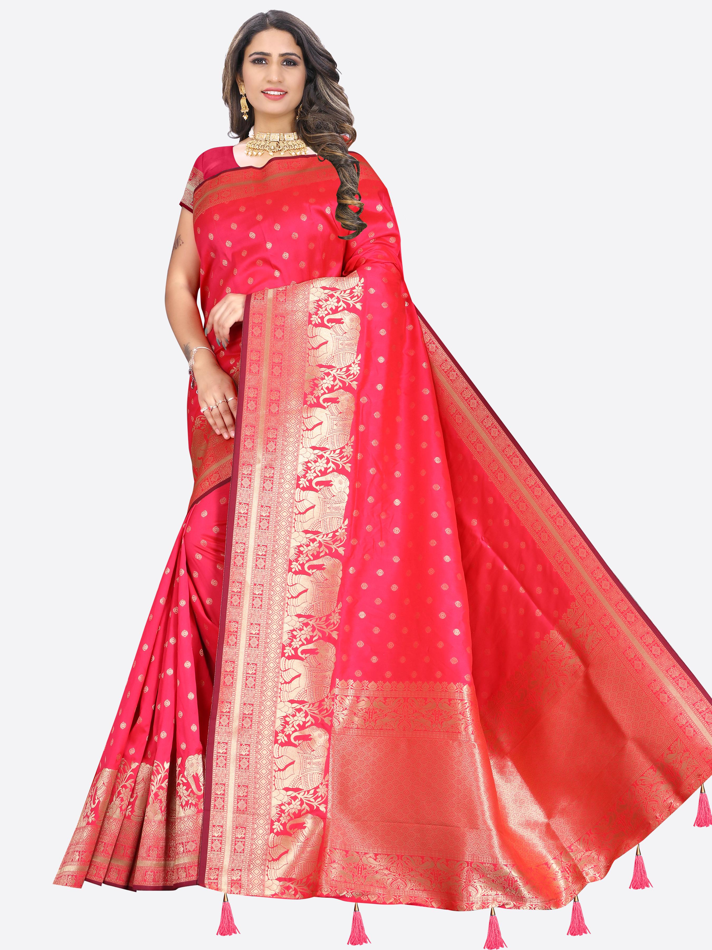Glemora | Glemora Saree for Women Banarasi Silk With Blouse, Women Silk Sarees ( Pink )