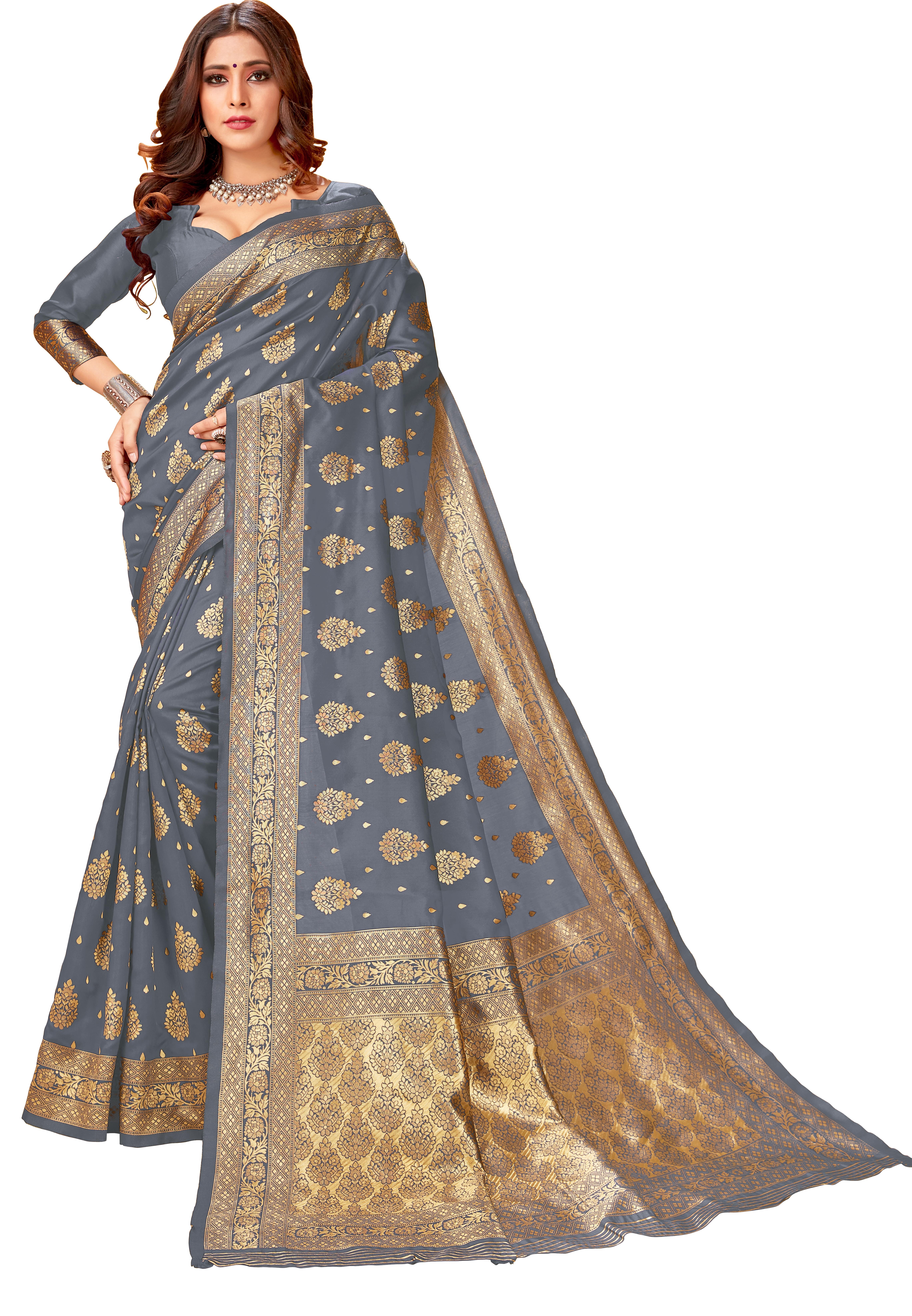 Glemora | Glemora Grey Lichi Silk Lavanya Saree With Unstitched Blouse