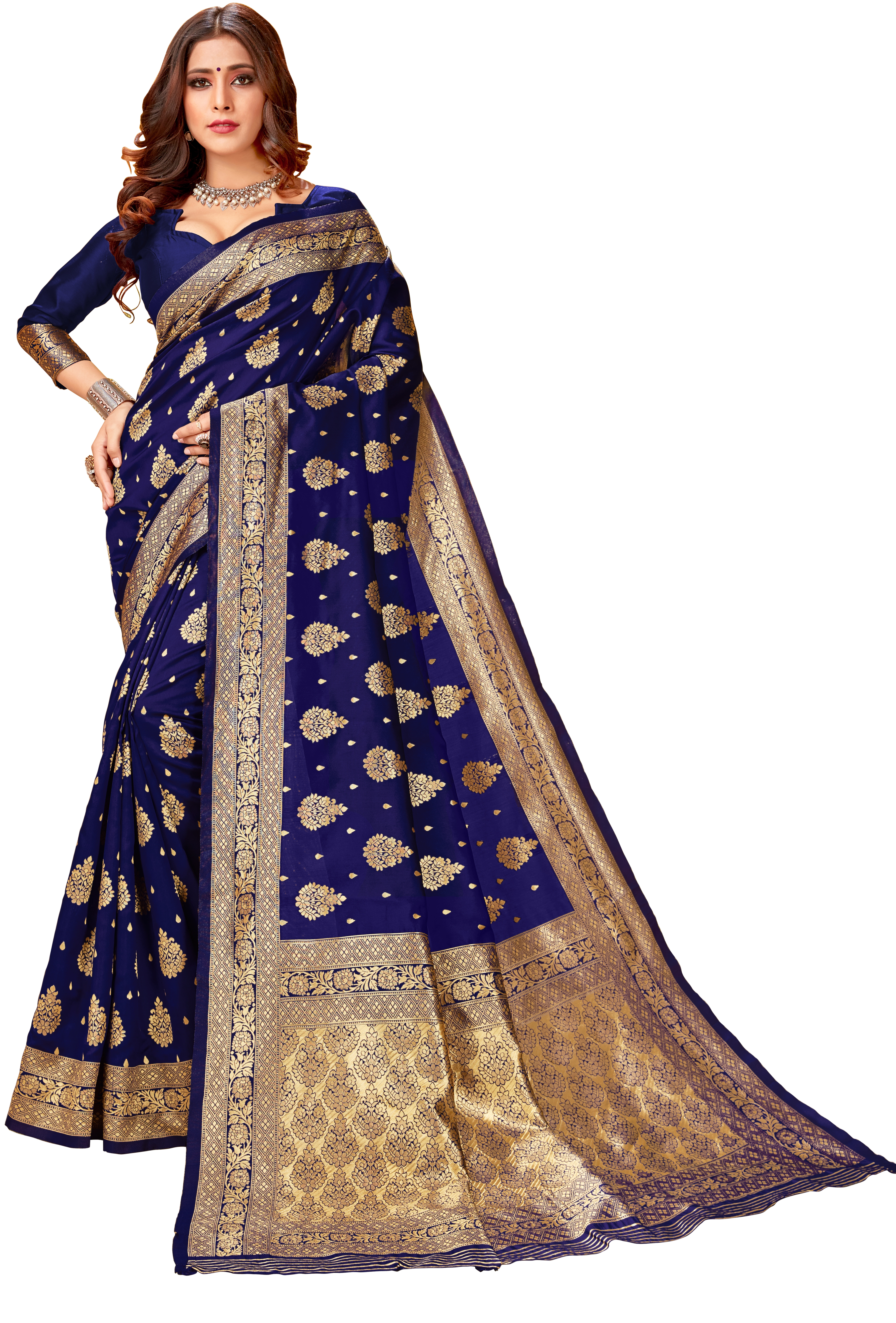 Glemora | Glemora Navy Blue Lichi Silk Lavanya Saree With Unstitched Blouse