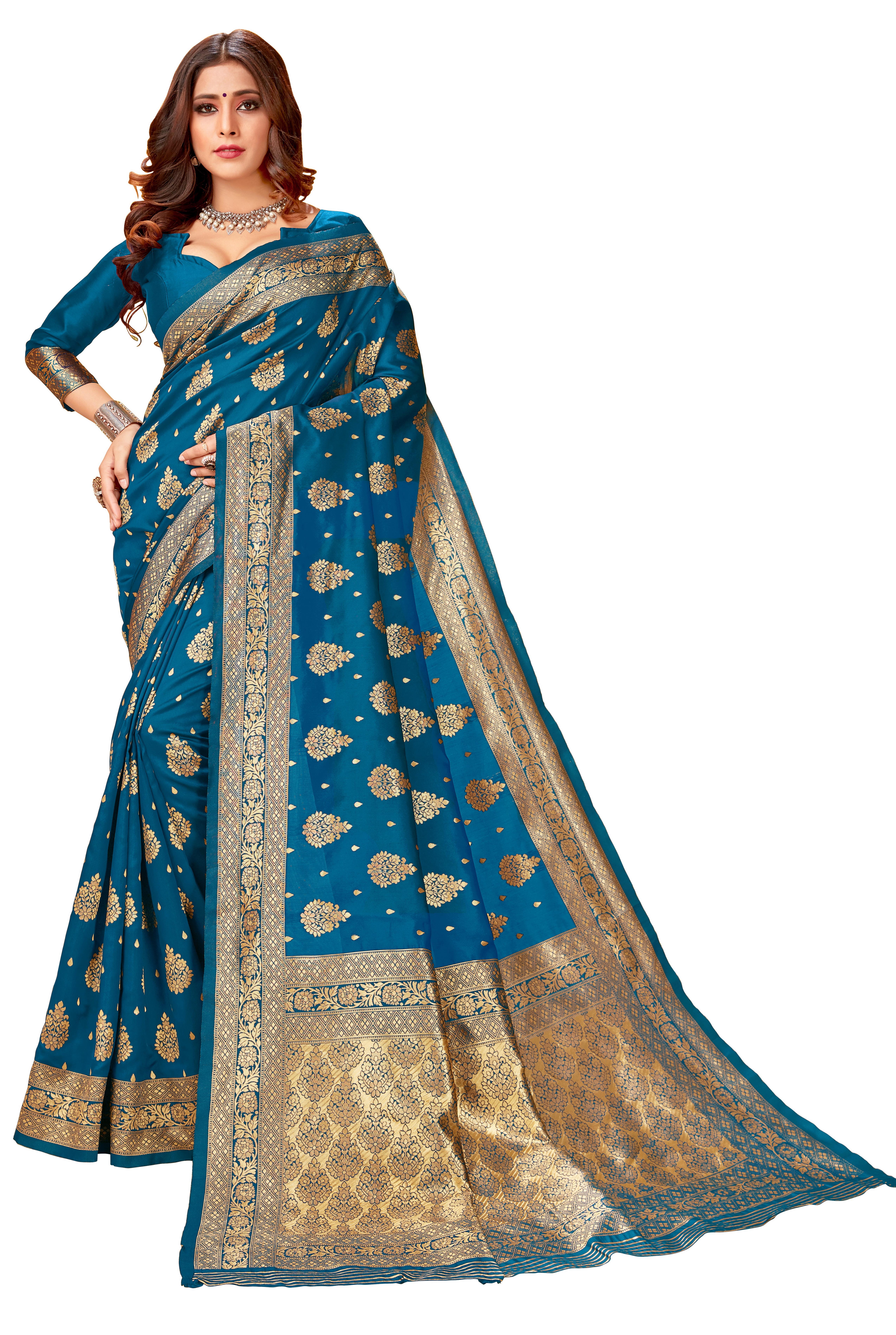 Glemora | Glemora Rama Lichi Silk Lavanya Saree With Unstitched Blouse