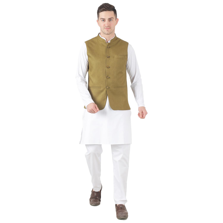 TAHVO   Tahvo Men 5 Button Nehru Jacket Kurta Set