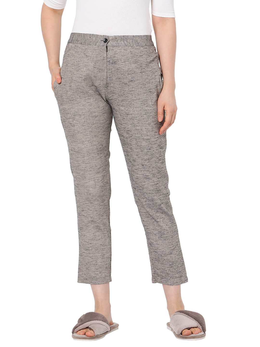 Smarty Pants | Smarty pants women's cotton dark khaki color ankle length tapered fit trouser