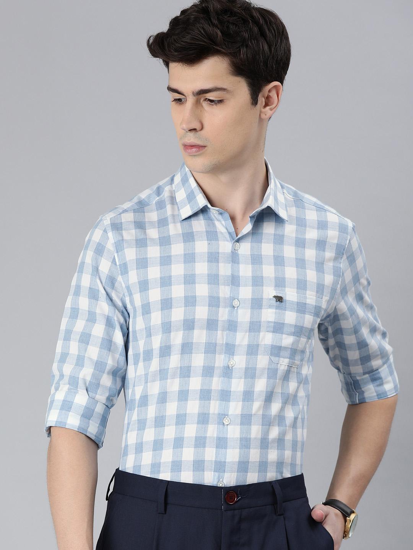 The Bear House   Men's Blue Checkered Formal Shirt