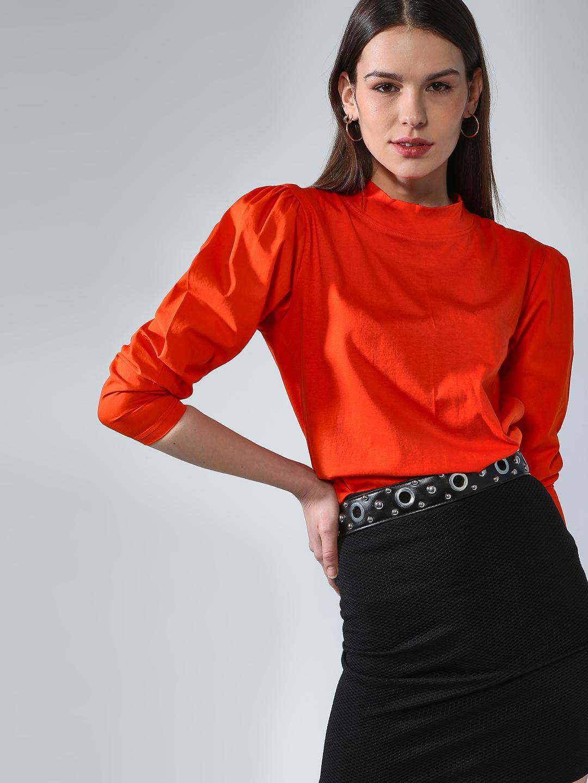 Blue Saint | Blue Saint Women's Orange Slim Fit T-shirts