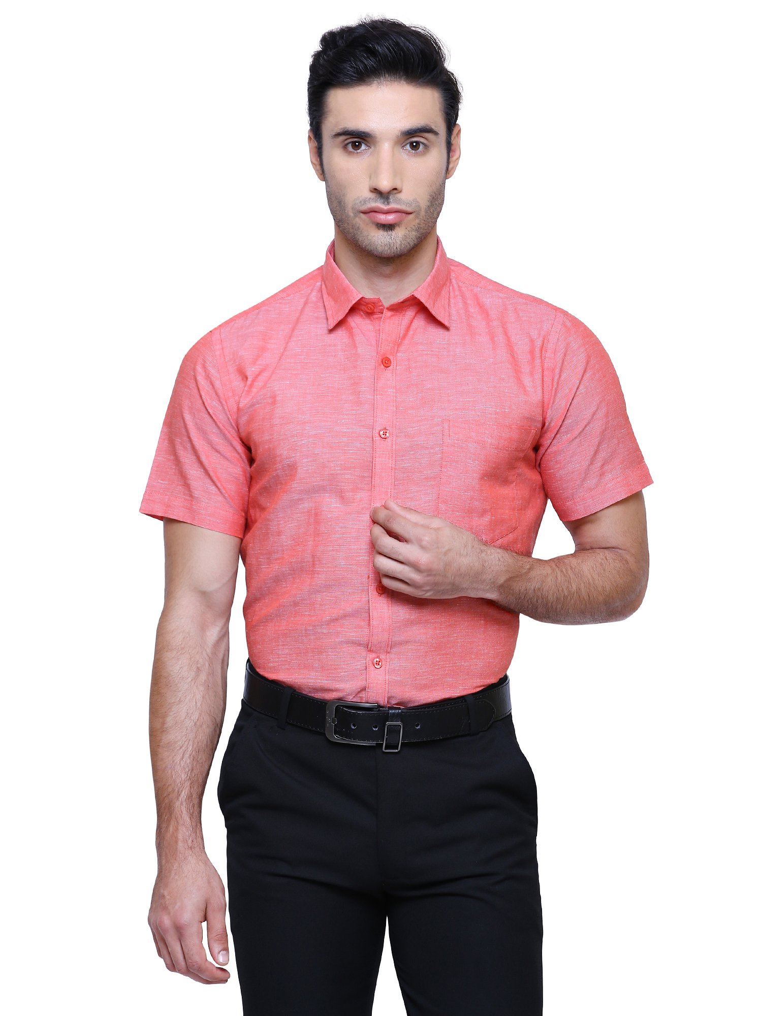 Southbay | Southbay Men's Salmon Pink Half Sleeve Linen Cotton Formal Shirt-SBCLHS231PK