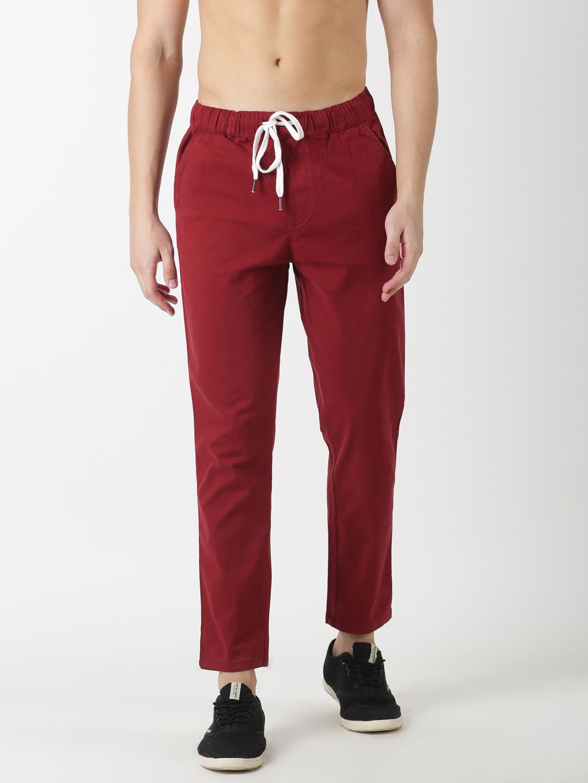 Blue Saint | Blue Saint Men's Solids Red Trouser