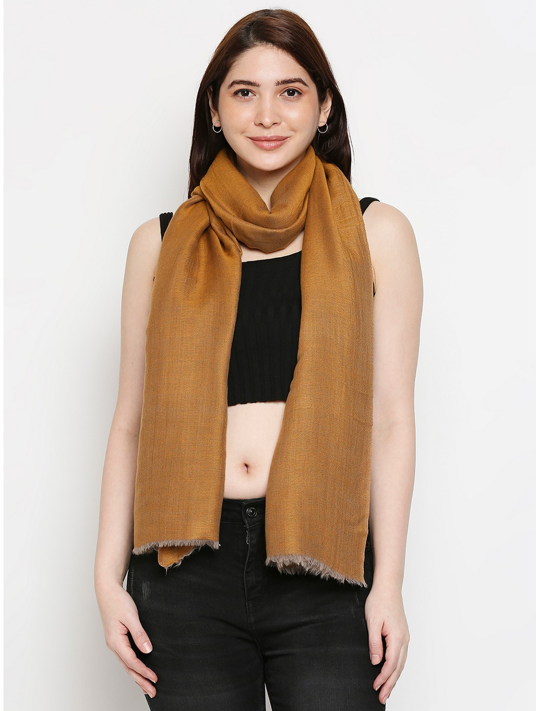 Get Wrapped | Get Wrapped Beige Reversible Shawl with Raw fringes for Women